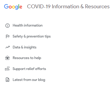 google covid 19 website